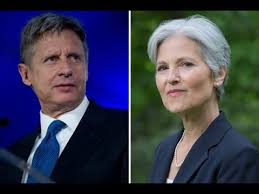 Gary Johnson (left), representing the libertarian party, and Jill Stein (right), representing the green party.