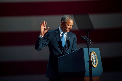 Barack Obama waves to the crowds in Chicago, just minutes before giving his farewell address.