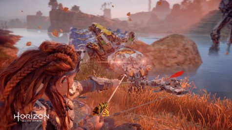 Aloy fighting a Snapmaw