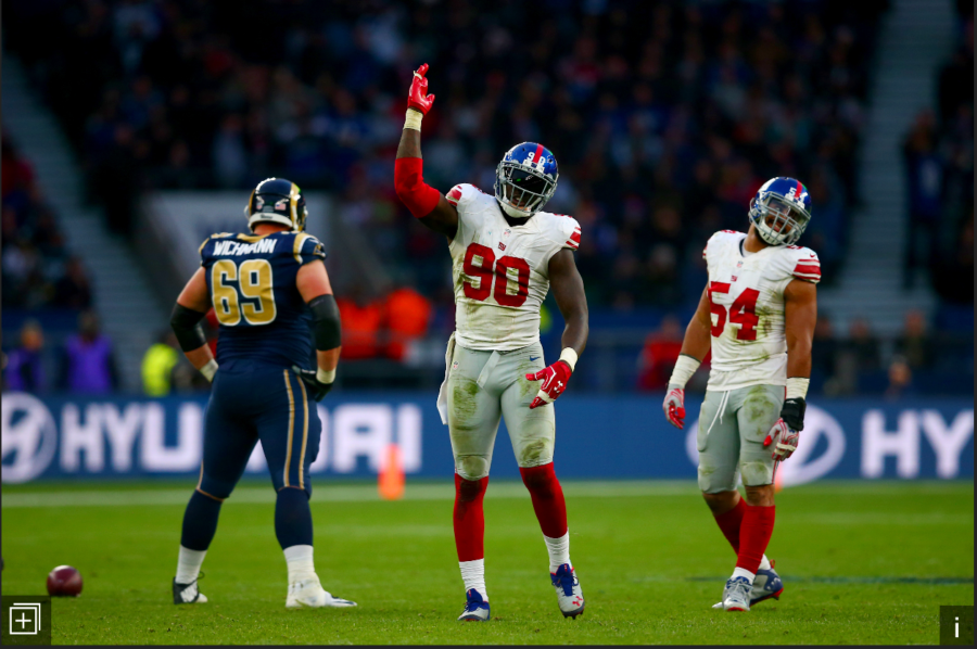 Jason Pierre-Paul and Olivier Vernon after a sack on Jared Goff