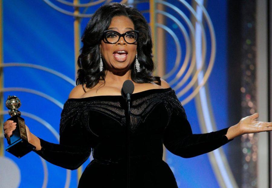 Oprah Winfrey accepting her Cecil B. DeMille award