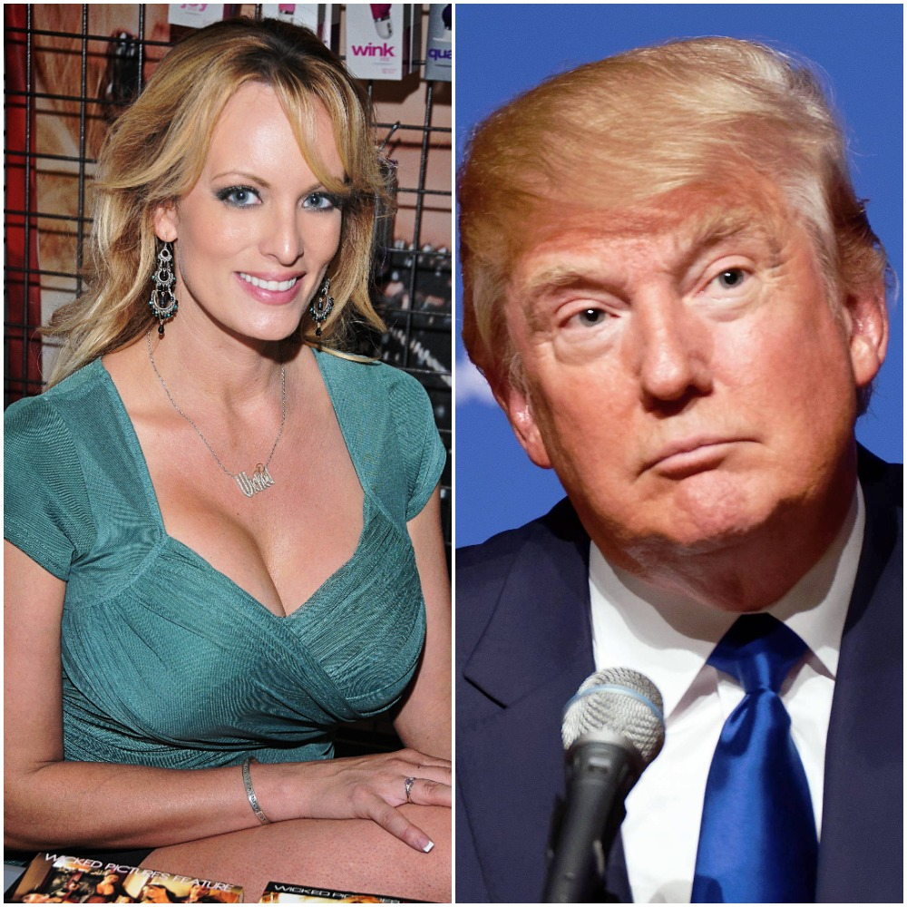 Actress and porn star, Stormy Daniels, with President of the United States, Donald Trump side by side.