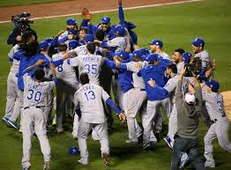 The Kansas City Royals celebrate after their 2015 World Series win.