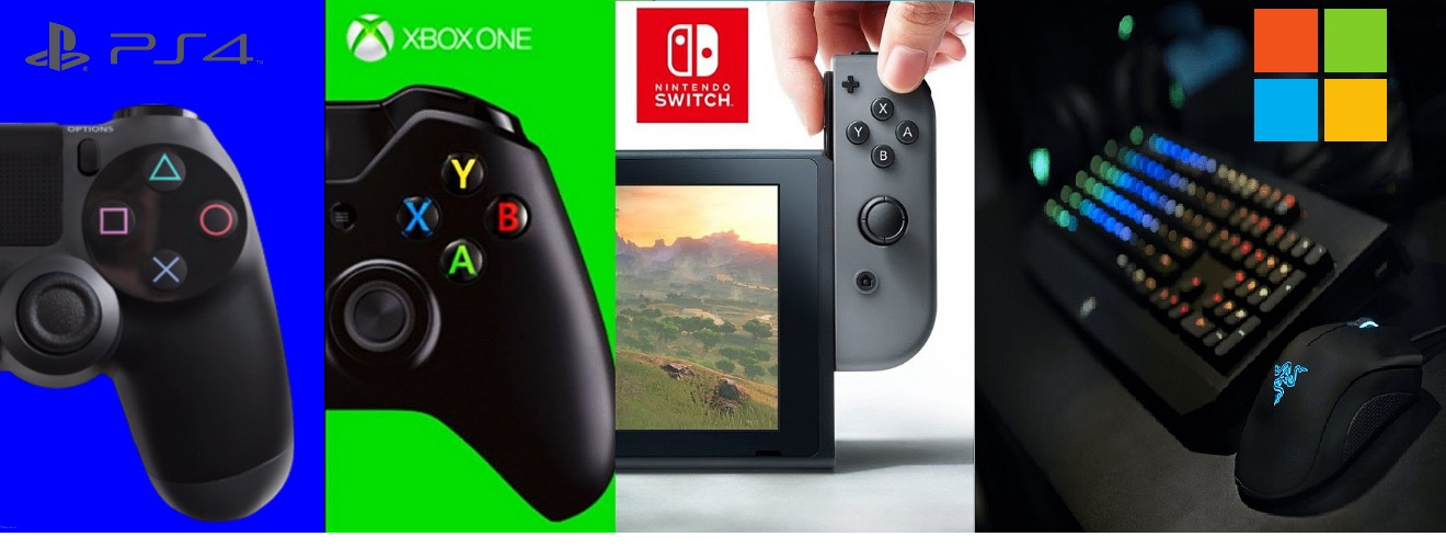 From left to right: a PlayStation 4 controller, an Xbox One controller, the Nintendo Switch and a Razer gaming keyboard and mouse