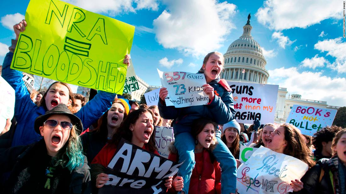 Students participate in a rally with other students from DC, Maryland and Virginia in their Solidarity Walk-Out to urge Republican leaders in Congress